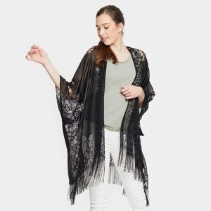 Lace Black cover up with Fringe